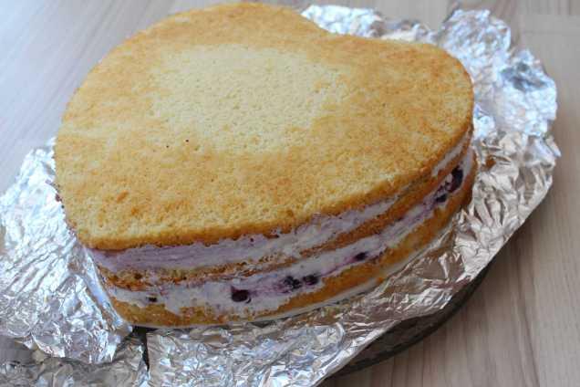Vanillekuchen mit Blaubeer-Quark-Sahne Füllung